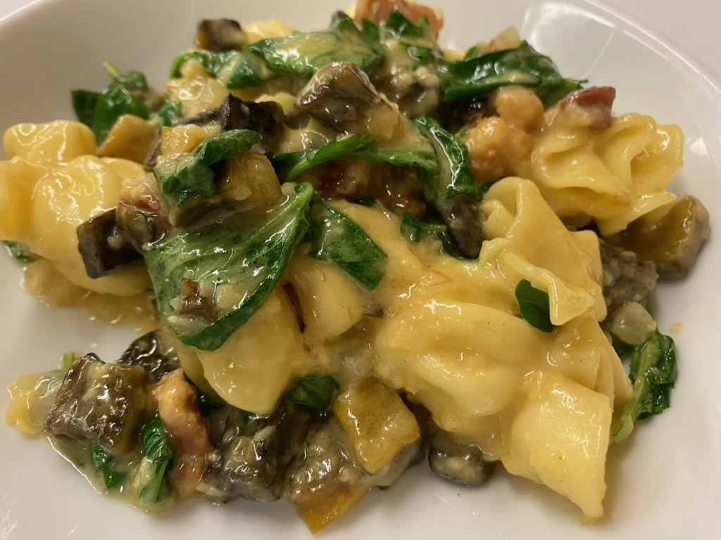 Pear And Mascarpone Sacchetti With Pancetta, Watercress, Brown Butter