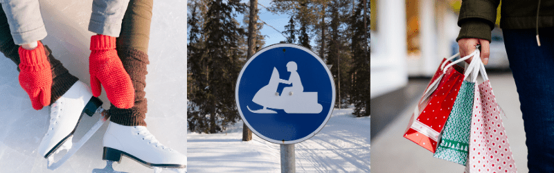 Winter activities - skating, snowmobiling sign and christmas shopping
