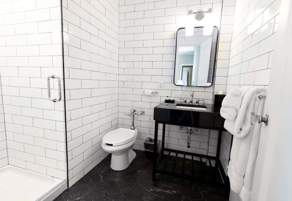subway tile in bathroom