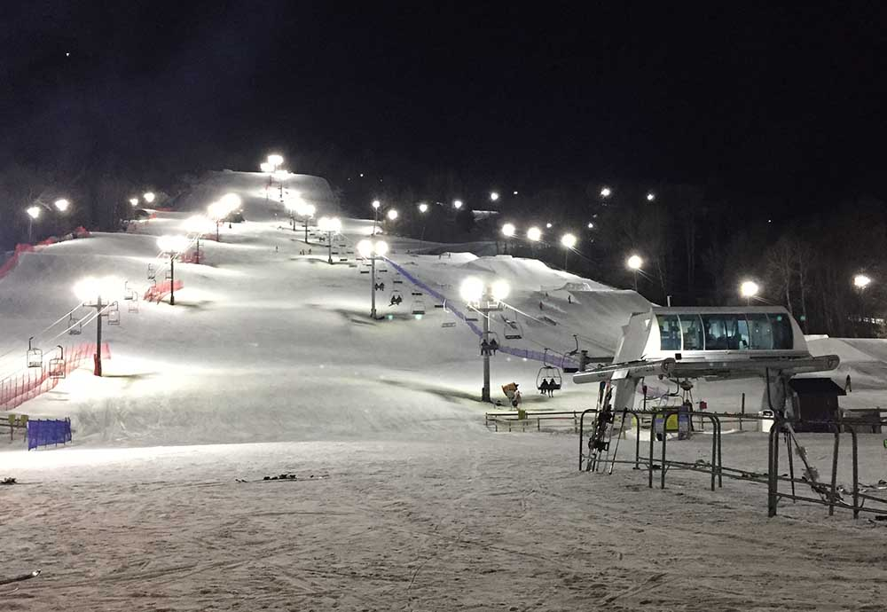 Night skiing at West Mountain