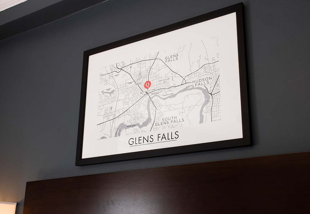 Map of glens falls on wall
