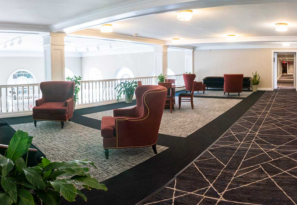 2nd level lobby with seating