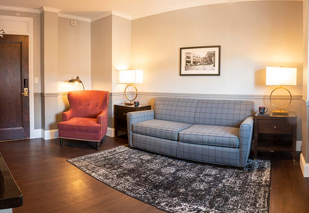 Couch and chair in hotel suite