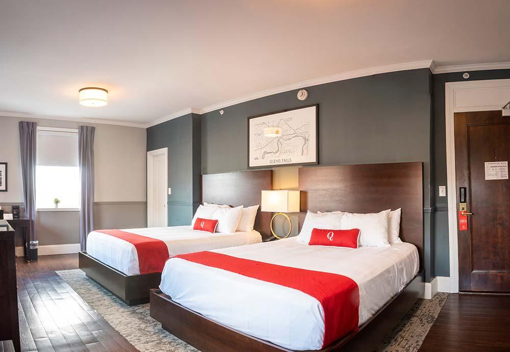 Two queen beds in hotel room