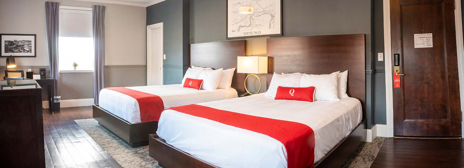 2 queen beds in modern styled hotel room