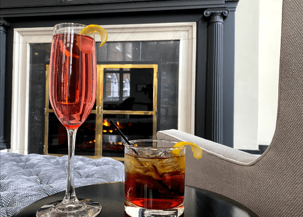 Hotel Lobby Fireplace Drinks